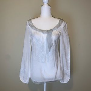 Elie Tahari embroidered tie neck Blouse #3020